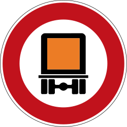 Traffic sign of Germany: Vehicles with dangerous goods prohibited