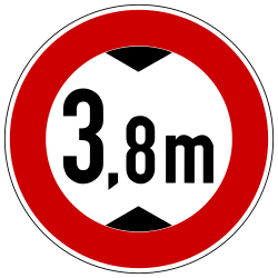 Traffic sign of Germany: Vehicles higher than indicated prohibited