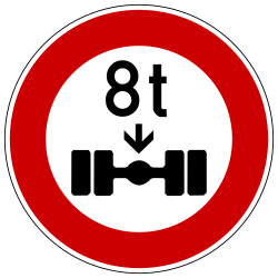 Traffic sign of Germany: Vehicles with an axle weight heavier than indicated prohibited