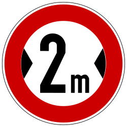 Traffic sign of Germany: Vehicles wider than indicated prohibited