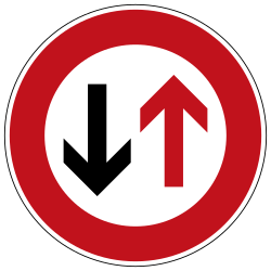Traffic sign of Germany: Road narrowing, give way to oncoming drivers