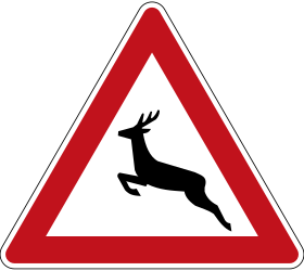 Traffic sign of Germany: Warning for crossing deer