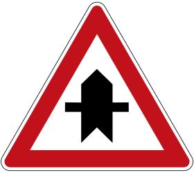 Traffic sign of Germany: Warning for a crossroad side roads on the left and right