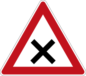 Traffic sign of Germany: Warning for an uncontrolled crossroad