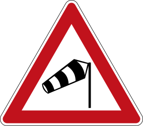 Traffic sign of Germany: Warning for heavy crosswind