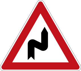 Traffic sign of Germany: Warning for a double curve, first right then left