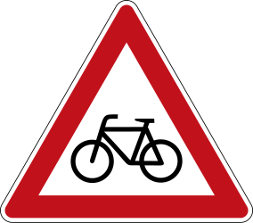 Traffic sign of Germany: Warning for cyclists