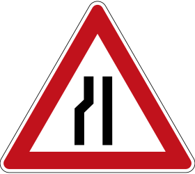 Traffic sign of Germany: Warning for a road narrowing on the left