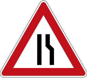 Traffic sign of Germany: Warning for a road narrowing on the right