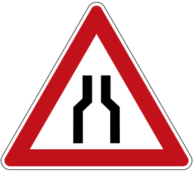 Traffic sign of Germany: Warning for a road narrowing
