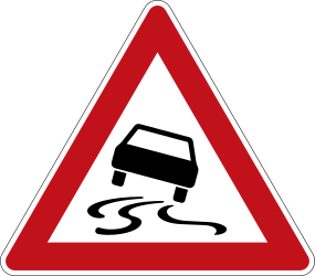 Traffic sign of Germany: Warning for a slippery road surface