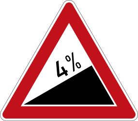 Traffic sign of Germany: Warning for a steep ascent