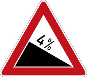 Traffic sign of Germany: Warning for a steep descent