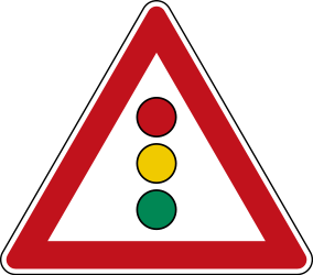 Traffic sign of Germany: Warning for a traffic light