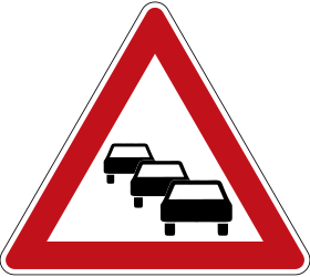 Traffic sign of Germany: Warning for traffic jams