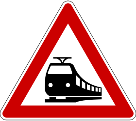 Traffic sign of Germany: Warning for a railroad crossing without barriers
