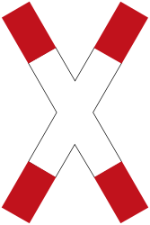 Traffic sign of Germany: Warning for a railroad crossing with 1 railway