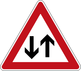Traffic sign of Germany: Warning for a road with two-way traffic