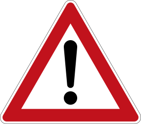 Traffic sign of Germany: Warning for a danger with no specific traffic sign