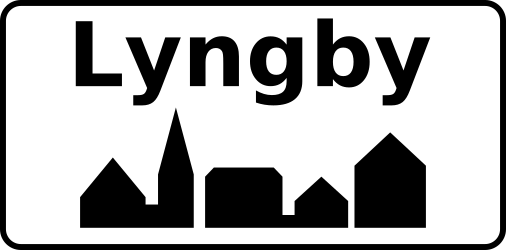 Traffic sign of Denmark: Begin of a built-up area