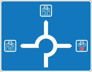 Traffic sign of Denmark: Information about the directions of the roundabout