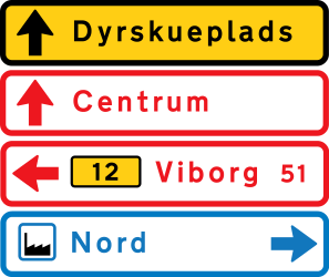 Traffic sign of Denmark: General information about the <b>directions</b>