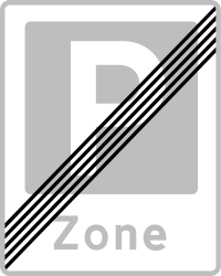 Traffic sign of Denmark: End of the parking zone