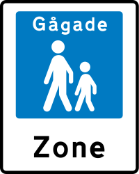 Traffic sign of Denmark: Begin of a zone for pedestrians