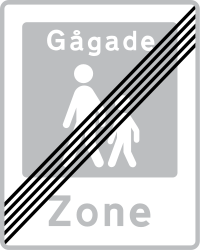 Traffic sign of Denmark: End of the zone for pedestrians