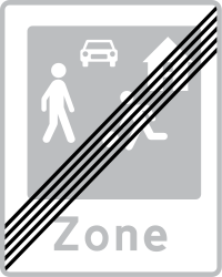 Traffic sign of Denmark: End of the residential area