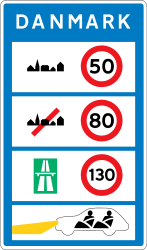Traffic sign of Denmark: National speed limits