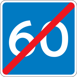 Traffic sign of Denmark: End of the advisory speed limit