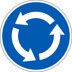 Traffic sign of Denmark: Mandatory direction of the roundabout