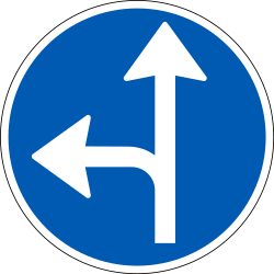 Traffic sign of Denmark: Driving straight ahead or turning left mandatory