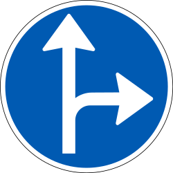 Traffic sign of Denmark: Driving straight ahead or turning right mandatory