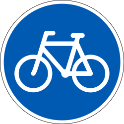 Traffic sign of Denmark: Mandatory path for cyclists