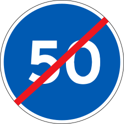 Traffic sign of Denmark: End of the minimum speed