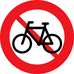 Traffic sign of Denmark: Cyclists prohibited