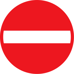Traffic sign of Denmark: Entry prohibited (road with one-way traffic)