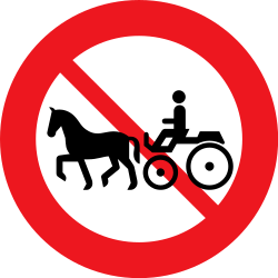 Traffic sign of Denmark: Horse carts prohibited