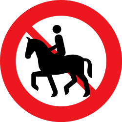 Traffic sign of Denmark: Equestrians prohibited