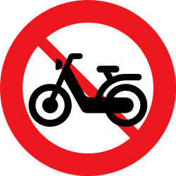 Traffic sign of Denmark: Mopeds prohibited