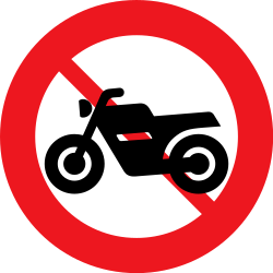 Traffic sign of Denmark: Motorcycles prohibited