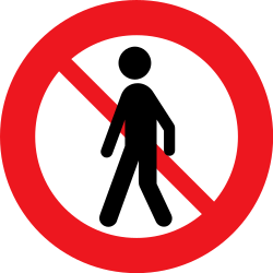 Traffic sign of Denmark: Pedestrians prohibited