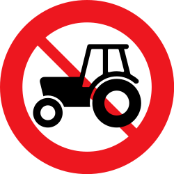 Traffic sign of Denmark: Tractors prohibited