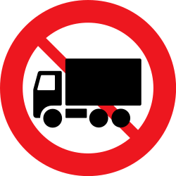 Traffic sign of Denmark: Trucks prohibited