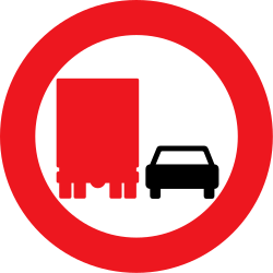 Traffic sign of Denmark: Overtaking prohibited for trucks