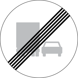 Traffic sign of Denmark: End of the overtaking prohibition for trucks