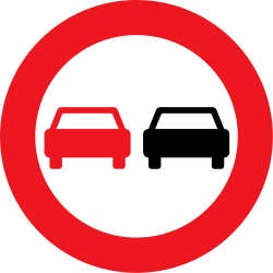 Traffic sign of Denmark: Overtaking prohibited