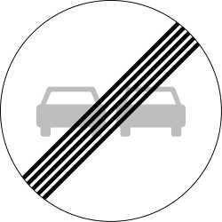 Traffic sign of Denmark: End of the overtaking prohibition